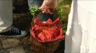 Koszyk wielkanocny z czerwoną serwetką