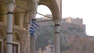 Flaga Grecji powiewająca na wietrze