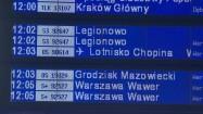 Tablica informacyjna - odjazdy pociągów