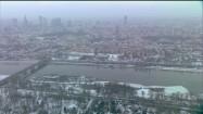 Warszawa zimą z lotu ptaka