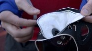 Zanieczyszczona maseczka przeciwpyłowa biegacza