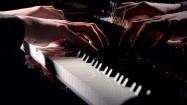 Dłonie pianisty na klawiaturze fortepianu