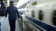 Pociąg Shinkansen wjeżdżający na stację
