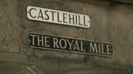 Royal Mile w Edynburgu - tabliczka informacyjna