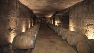 Beczki wina w winnicy