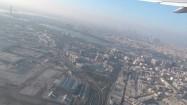 Panorama Dubaju - widok z lecącego samolotu