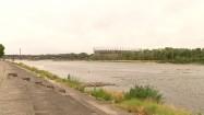 Stadion Narodowy i Wisła w pochmurny dzień