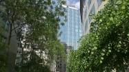 Budynki Parlamentu Europejskiego wśród zieleni